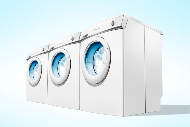 Filas de máquinas de lavar roupa