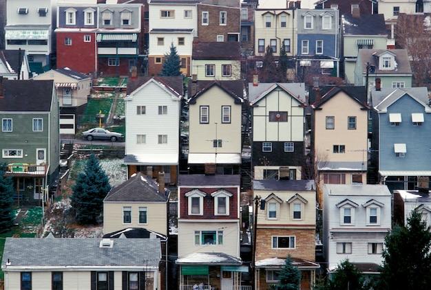 Fileira, casas, pittsburgh, pensilvânia