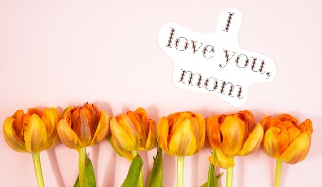 Fileira das tulipas no fundo coloful com espaço para a mensagem. fundo do dia das mães. vista do topo