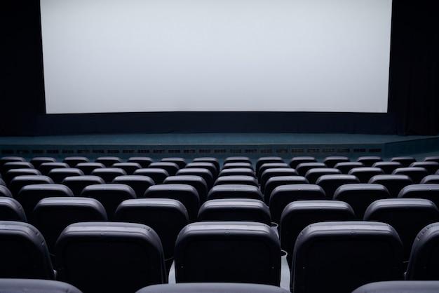 Fileiras de assentos de teatro e tela branca.