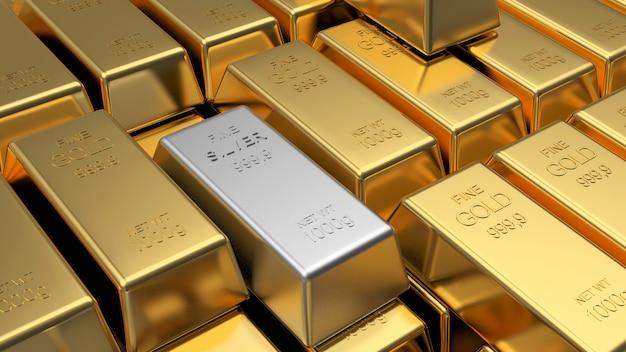 Fileiras de barras de ouro e uma barra de prata