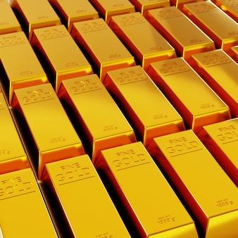 Fileiras de barras de ouro. renderização 3d de barras de ouro.