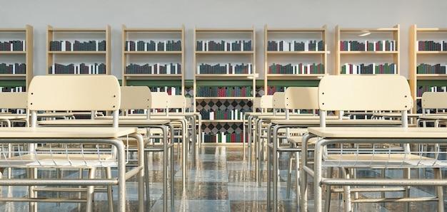 Fileiras de carteiras escolares na sala de aula com prateleiras cheias de livros na superfície