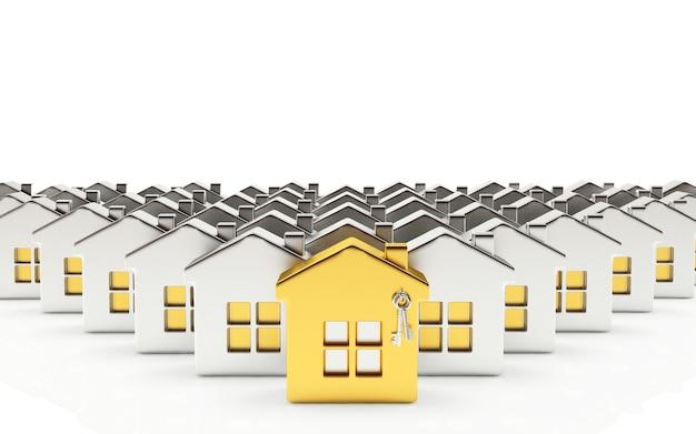Fileiras de casas de prata com uma casa de ouro