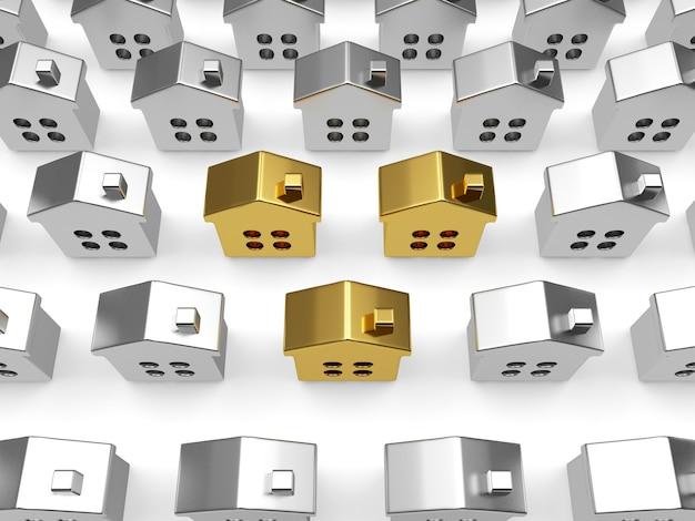 Fileiras de casas de prata com várias casas de ouro