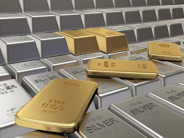 Fileiras de lingotes de prata e ouro.