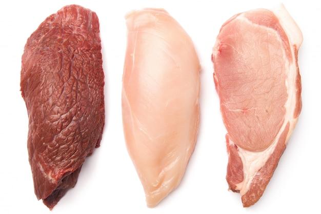 Filetes de carne, porco e frango