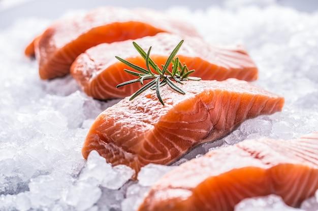 Filetes de salmão repartidos em gelo e cozinha vazia.