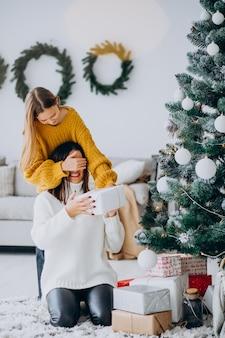 Filha fazendo presente surpresa para a mãe no natal