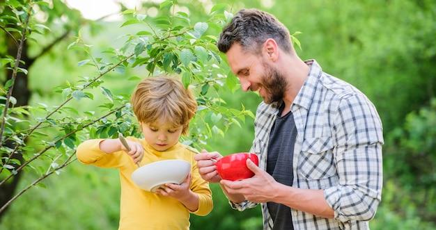 Filho e pai comendo mingau de leite, felicidade na infância comida para bebê, alimentação saudável e dieta