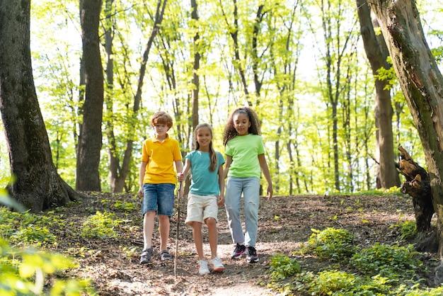 Filhos fofos explorando a natureza