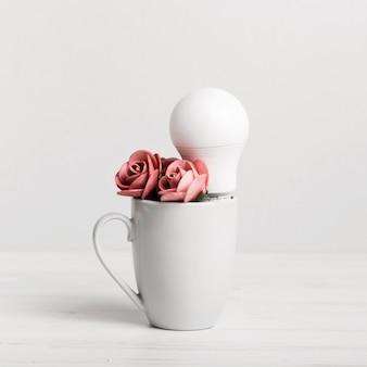 Filhote com lindas rosas e uma lâmpada