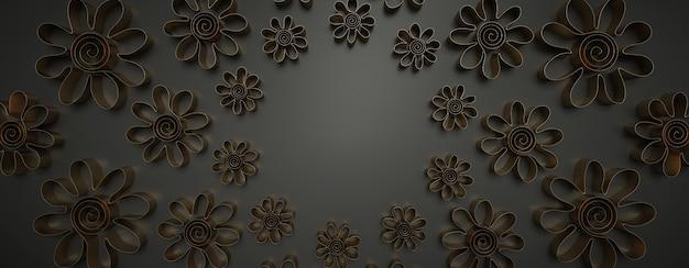 Filigrana ornamental de metal dourado com forma de flor no escuro.