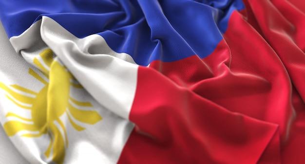 Filipinas flag ruffled beautifully waving macro close-up shot