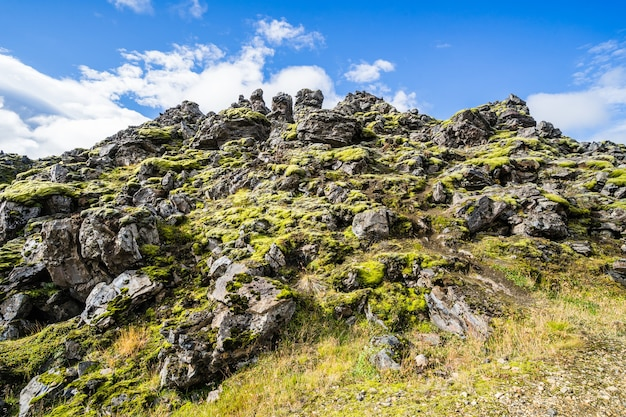 Filmado do parque nacional landmannalaugar, na islândia
