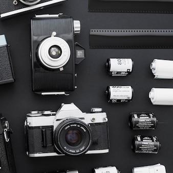 Filme de close-up perto de câmeras vintage