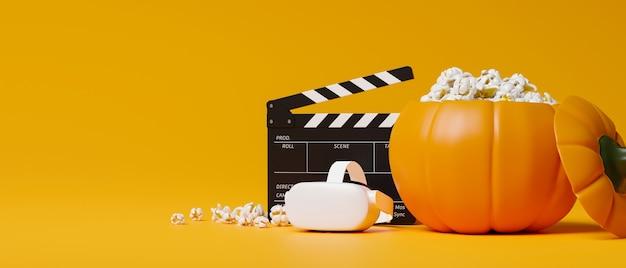 Filme de realidade virtual de noite de cinema de halloween com pipoca com fone de ouvido em formato de balde de abóbora filme de realidade virtual