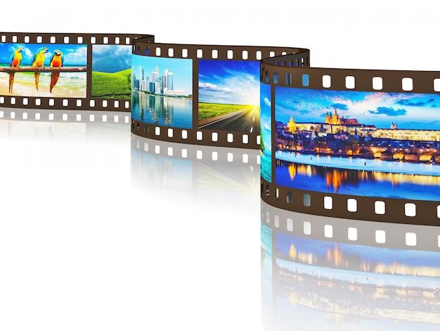 Filme fotográfico de imagens de viagens com reflexão