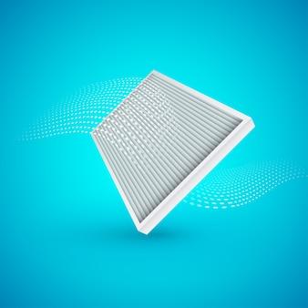 Filtro de ar com fluxo de ar em fundo azul. illustrtaion.