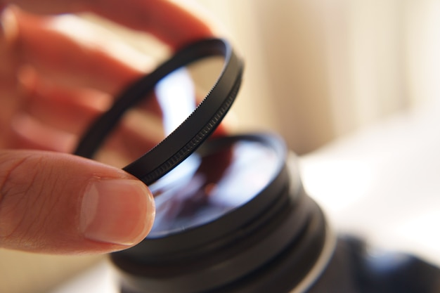 Filtro de câmera com filtro de proteção uv isolado