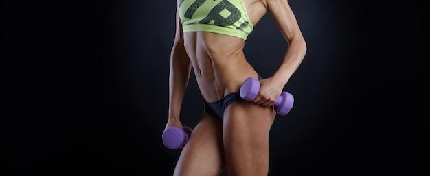 Fim, cima, barriga, femininas, atleta