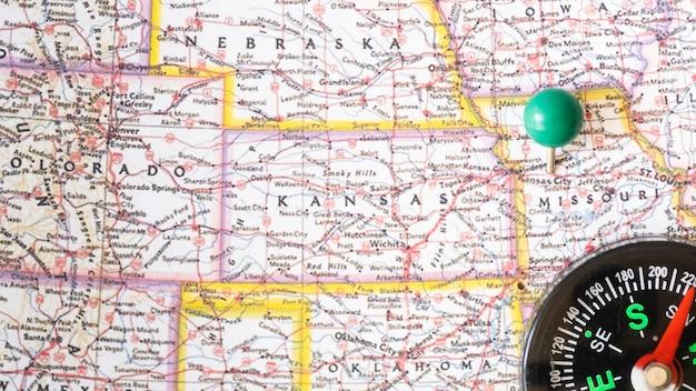 Fim, cima, estados unidos, de, américa, mapa