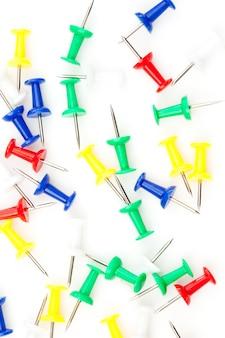 Fim, cima, grande, grupo, multi, colorido, pushpins