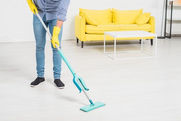 Fim, cima, homem, limpeza, seu, casa