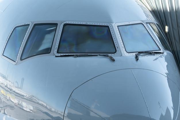 Fim, cima, jato, avião, cabina piloto