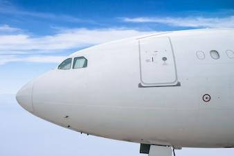 Fim, cima, passageiro, aeronave, cabeça