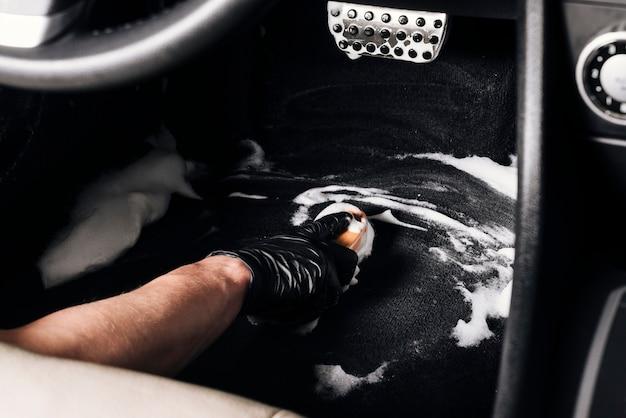 Fim, cima, pessoa, limpeza, car, interior