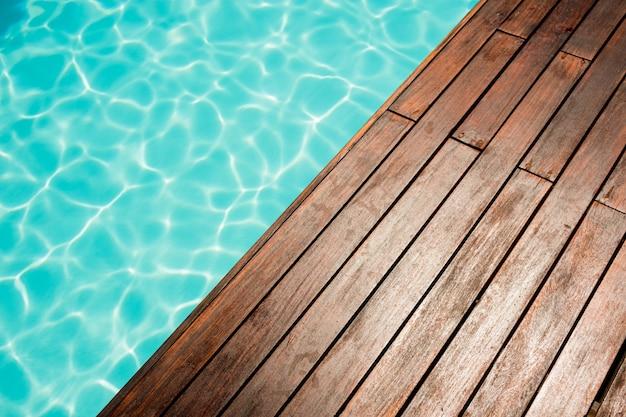 Fim, cima, piscina, madeira, chão, ao lado