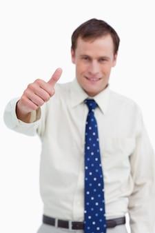 Fim, cima, polegar, cima, sendo, dado, homem negócios