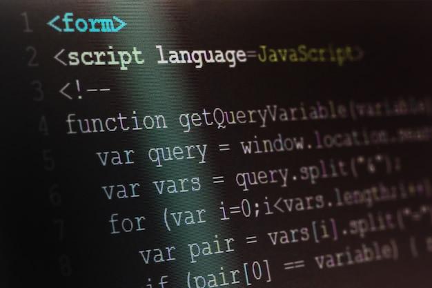 Fim, cima, tiro macro, foco seletivo, de, java, script, linguagem programação, ligado, computador