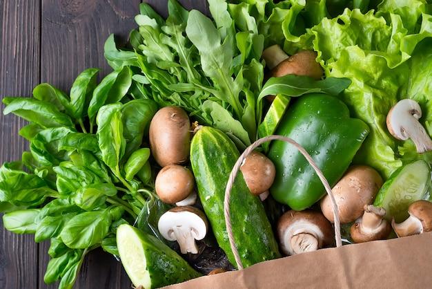 Fim, cima, verde, legumes, madeira, fundo, apartamento, leigo