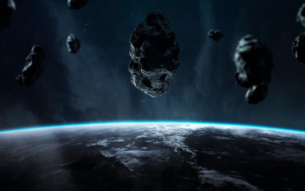 Fim da terra. apocalipse, asteróide explode o planeta. chuva de meteoritos. elementos desta imagem fornecidos pela nasa