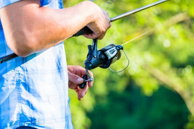 Fim, tiro, desporto, pescador, bobinar, linha, pesca, vara