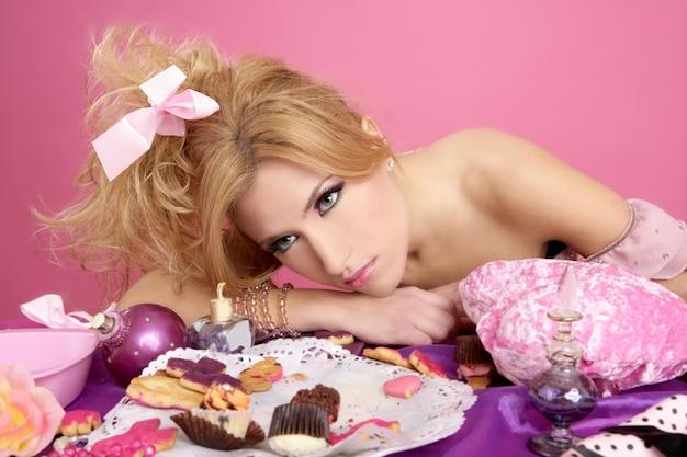 Final festa rosa princesa barbie moda mulher cansado