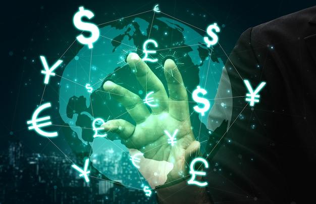 Finança global do dinheiro extrangeiro da troca de moeda.
