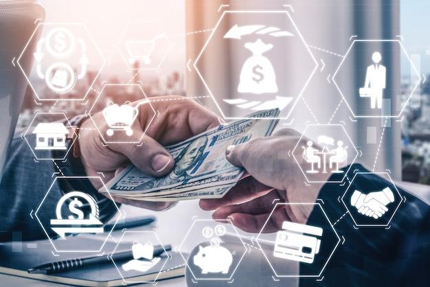 Finanças e conceito de tecnologia de transação de dinheiro