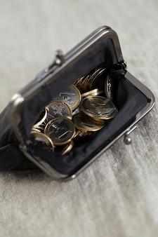 Finanças. moedas de euro na carteira