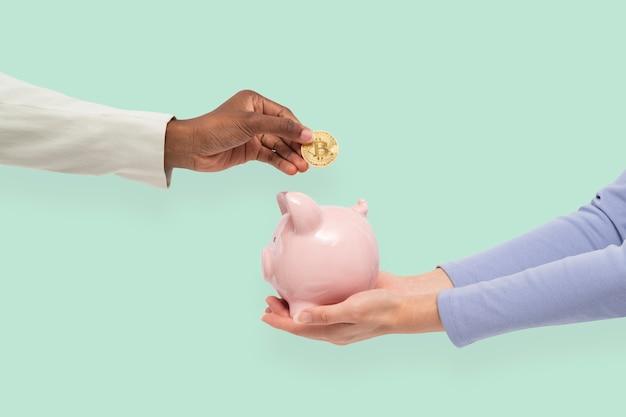 Financiamento de cofrinho em conceito de poupança