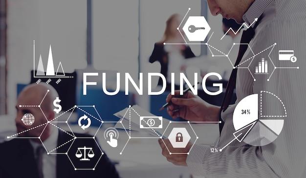 Financiar, investir dinheiro financeiro conceito de orçamento