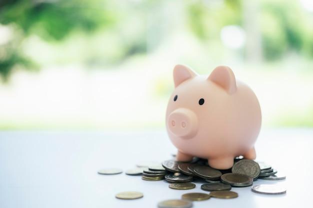 Finnace, economizando dinheiro e conceitos de investimento. cofrinho e moeda.