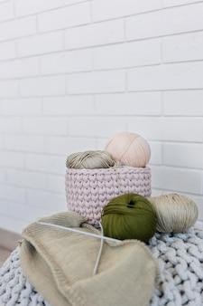 Fio de lã para tricô close up