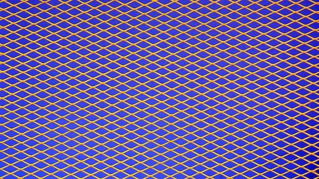 Fio de metal amarelo gaiola em fundo azul