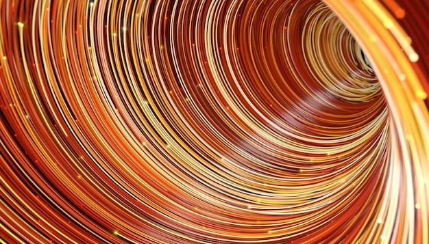 Fios de telecomunicação coloridos abstratos com brilho no final, ilustração 3d
