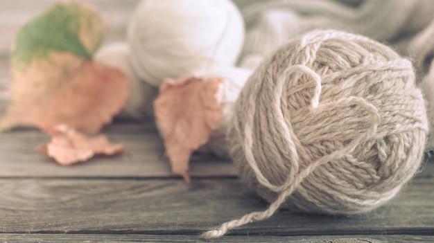 Fios de tricô com folhas de outono