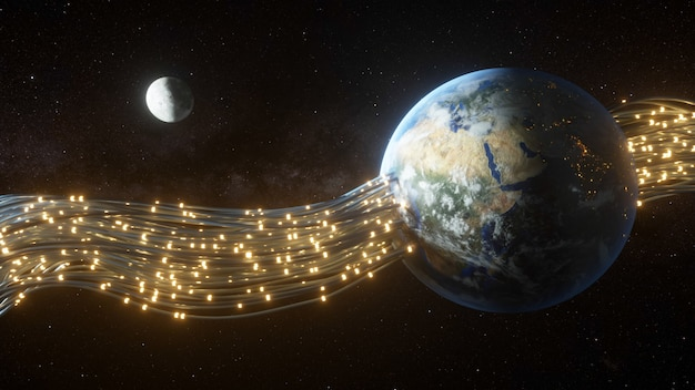 Fios passando pelo planeta terra e dando-lhe energia