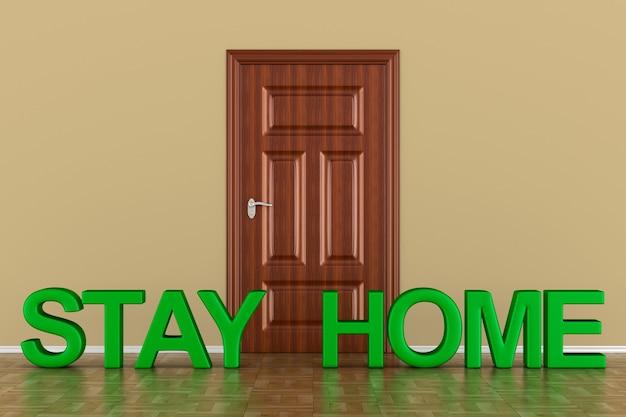 Fique em casa no branco.